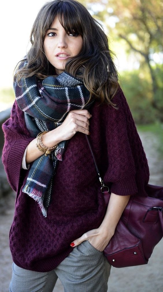 Sweater and Tartan Scarf