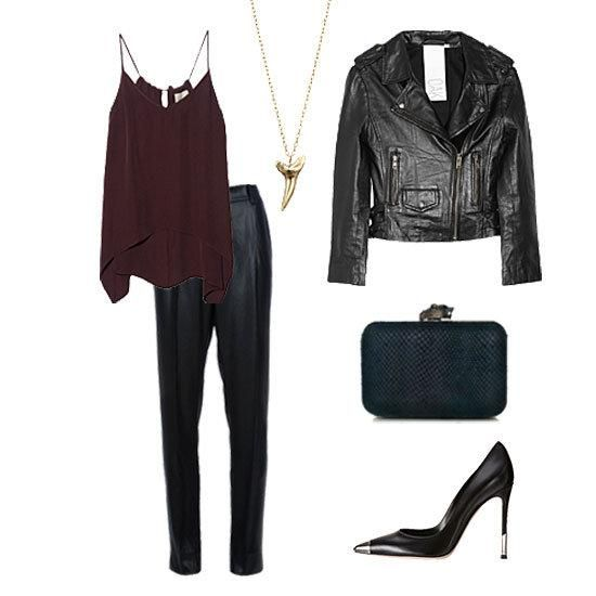 Tank Top and Black Leather Jacket