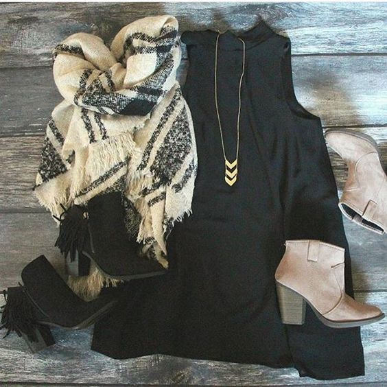 Tartan Scarf and Black Dress