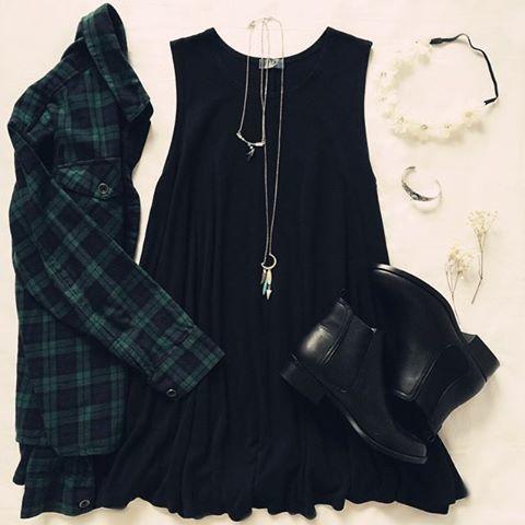 Tartan Shirt and Black Dress
