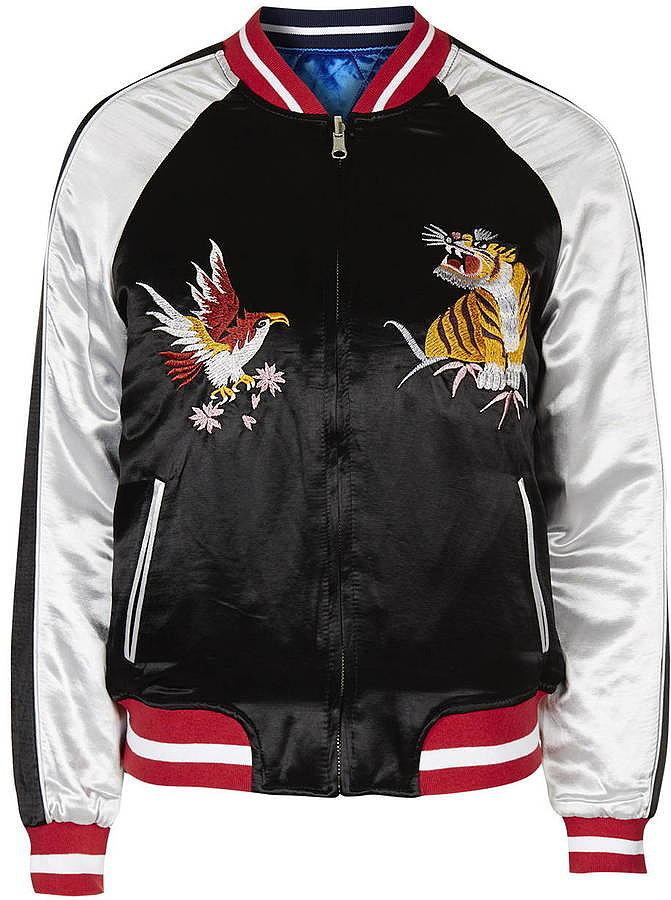 Topshop sateen bomber jacket ($160)