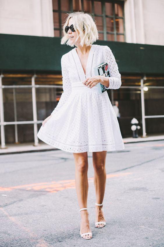 V-neck White Dress
