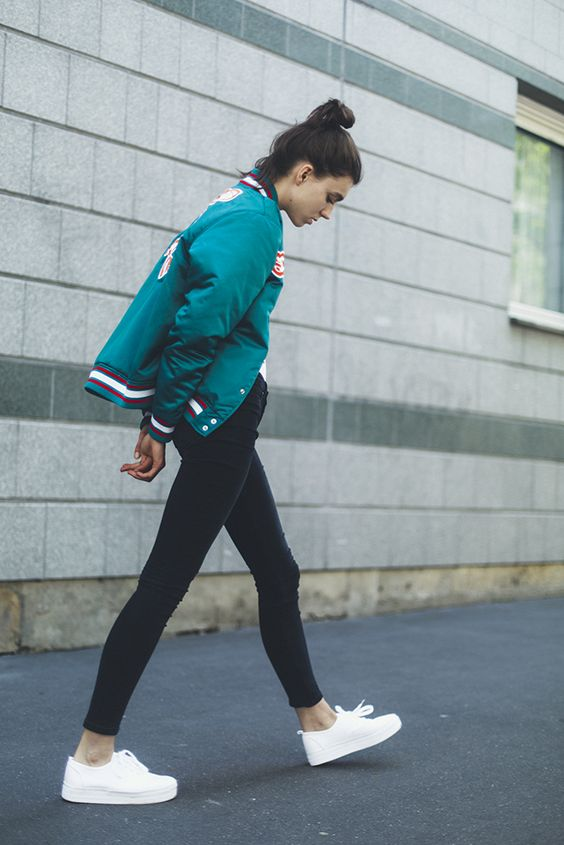 Varsity Jacket and White Shoes