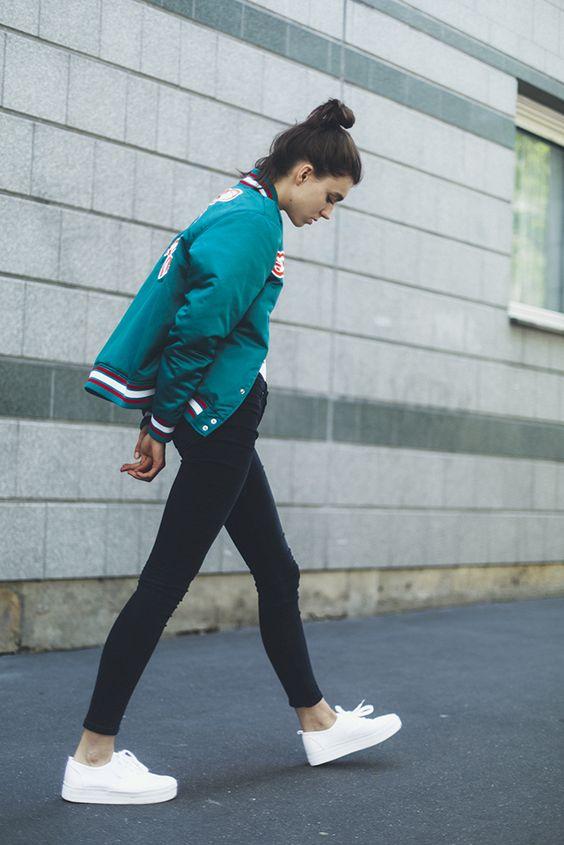 Varsity Jacket and White Shoes