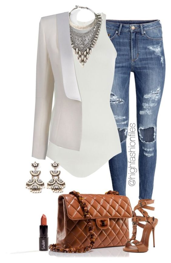 White Blazer and Ripped Jeans