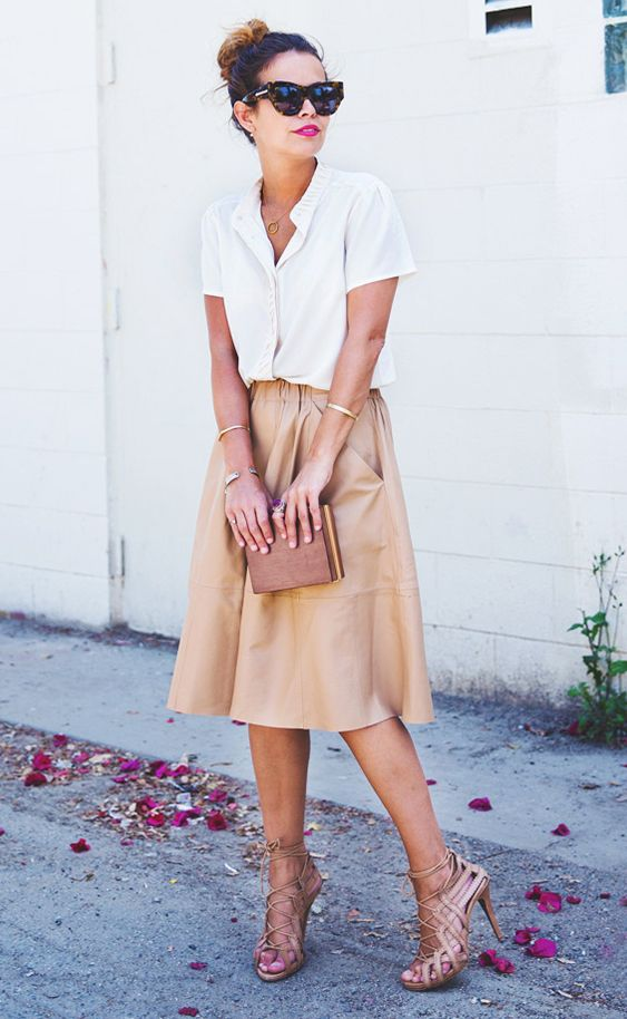 White Blouse and Leather Midi Skirt