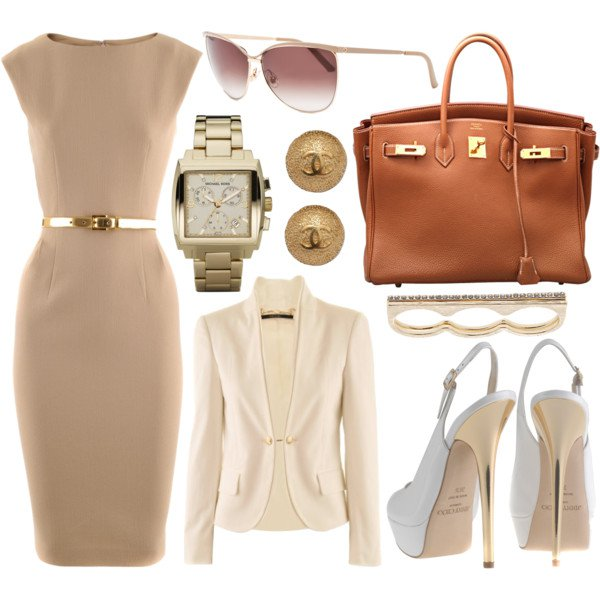 White Coat and Beige Dress