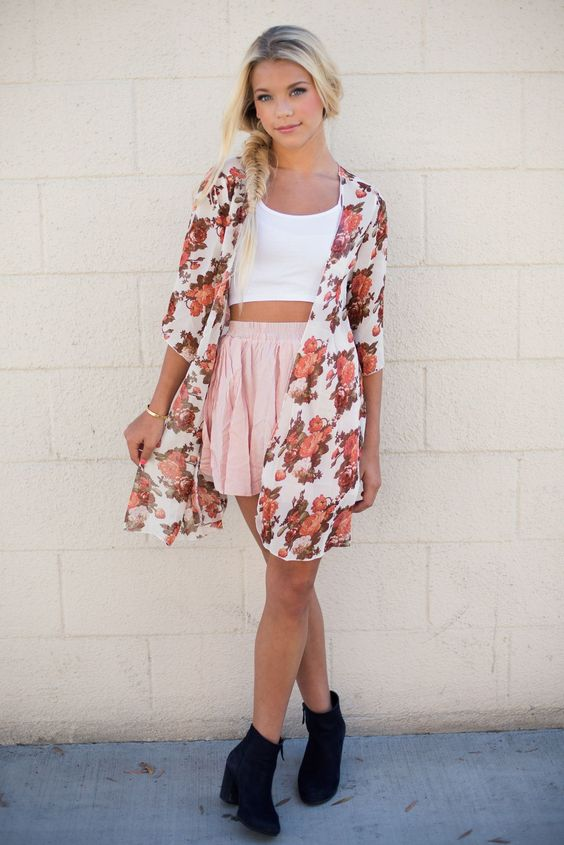 White Crop Top and Pink Skirt