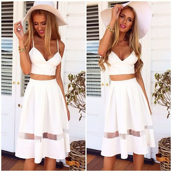 White Crop Top and Sheer Skirt