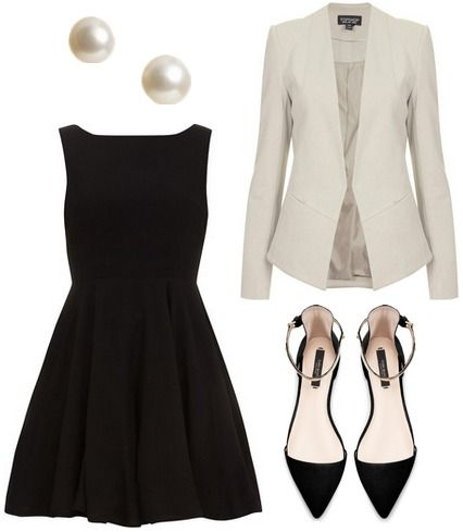 White Jacket and Black Dress