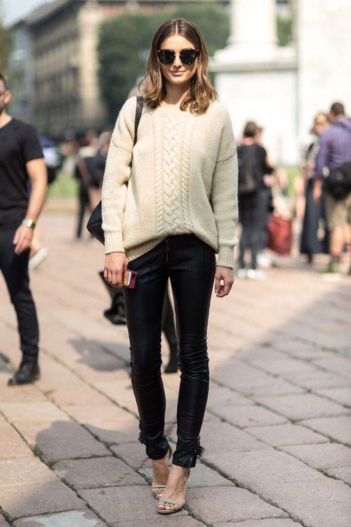 White Sweater and Black Leggings