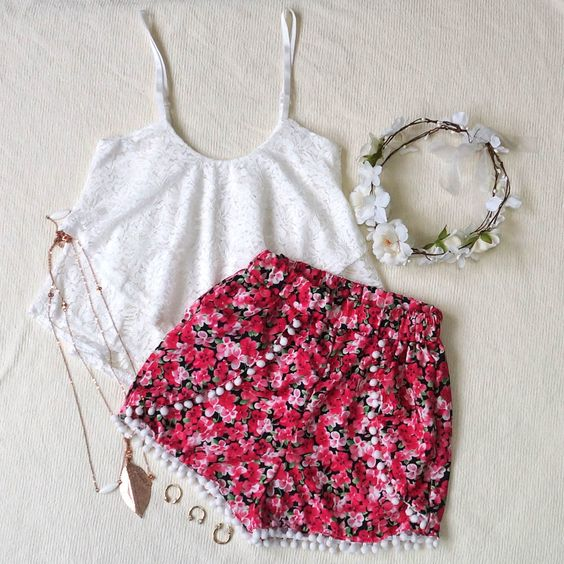 White Tank Top and Red Floral Shorts
