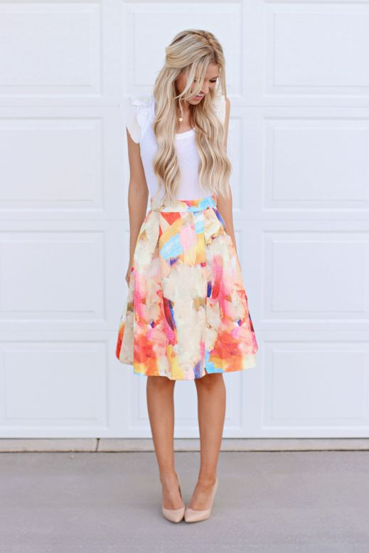 White Tee and Floral Skirt