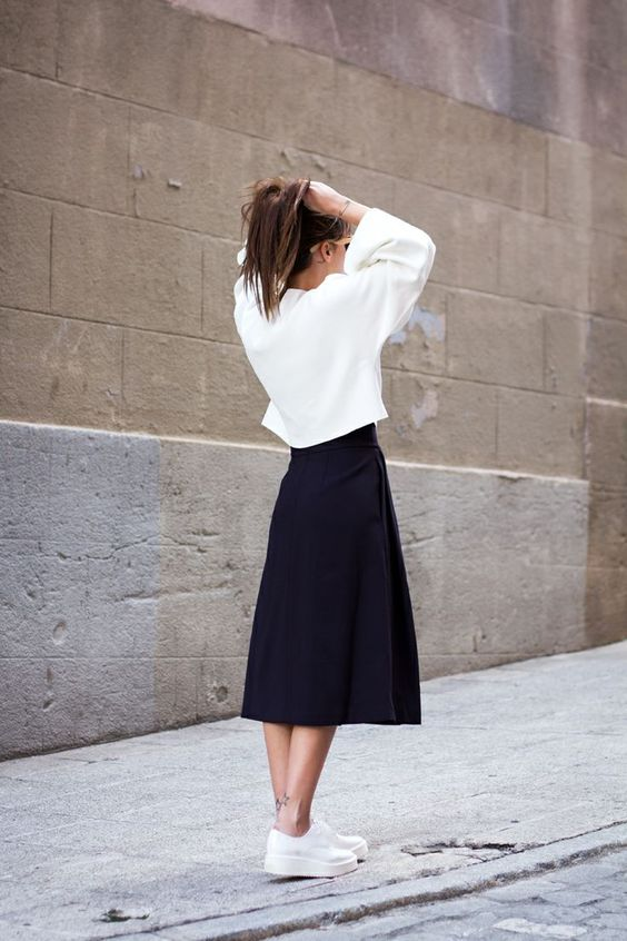White Top and Black Skirt