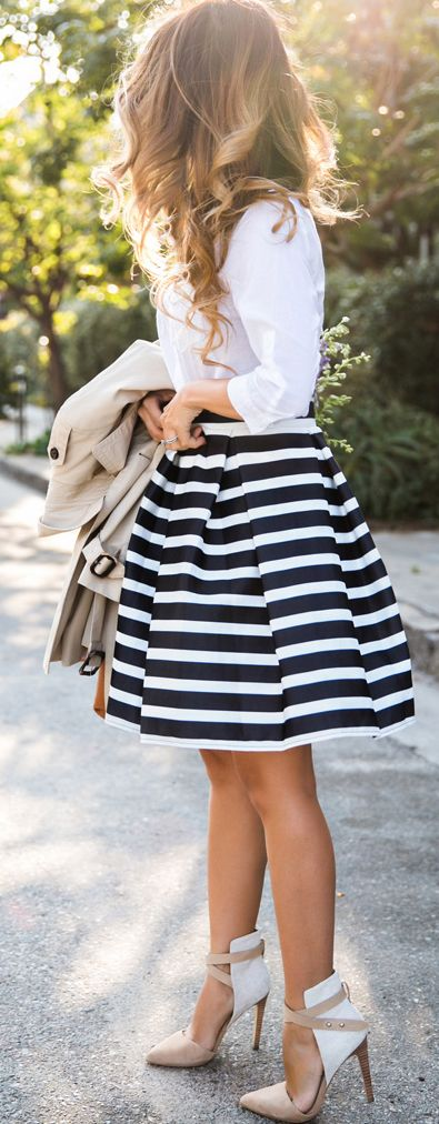 White Top and Stripped Mid Dress
