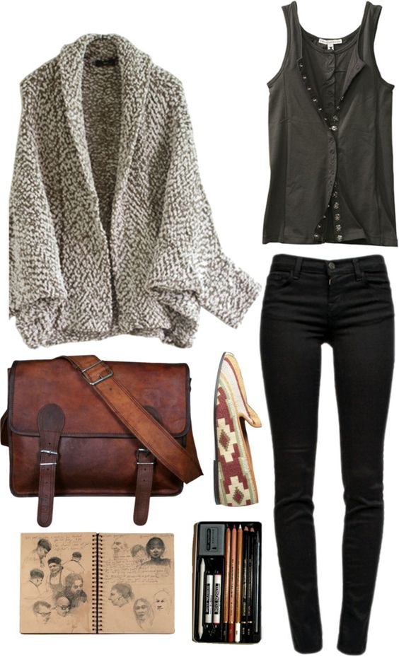 Black Basic and Brown Cardigan