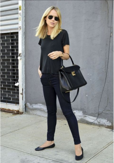 Black Outfit and Flats