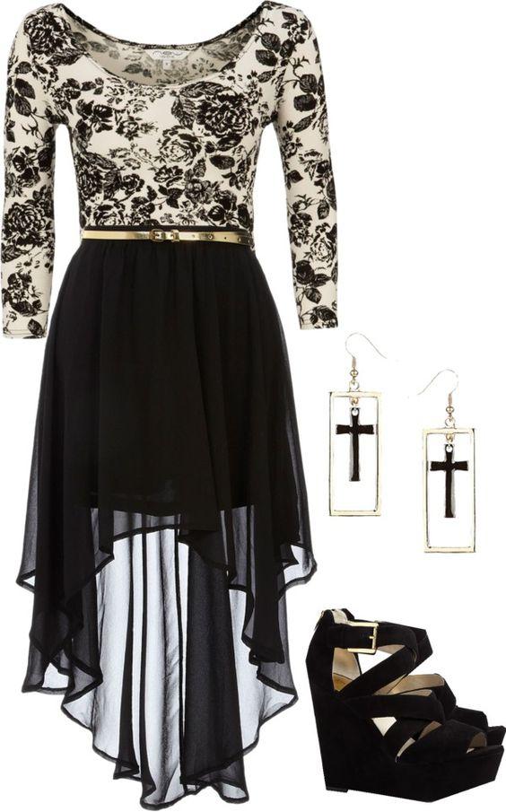 Black Printed Dress and Black Wedges