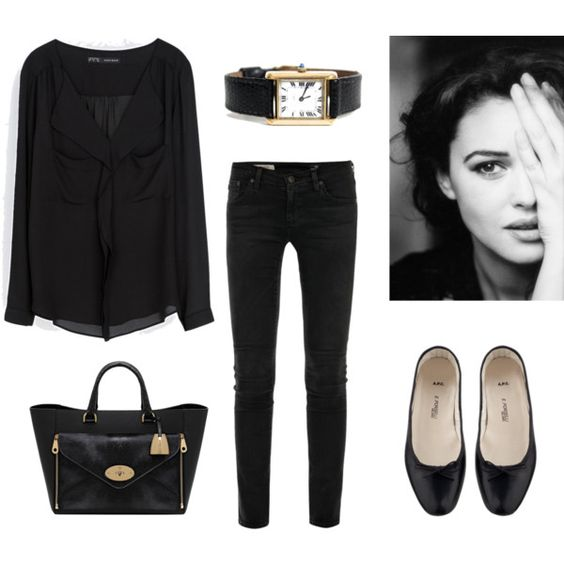 Black Shirt, Black Jeans and Black Flats