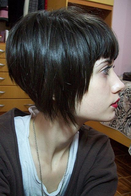 Black Short Stacked Bob