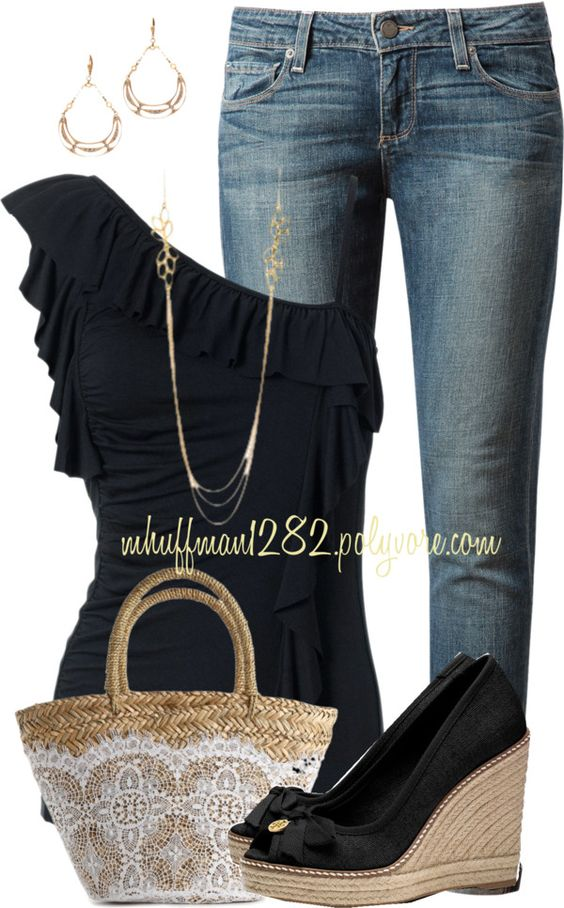 Black Top, Jeans and Black Wedges