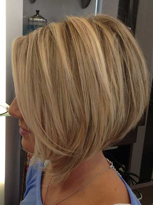 Blonde Short Stacked Bob