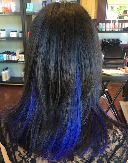 Blue Highlights in Black Hair