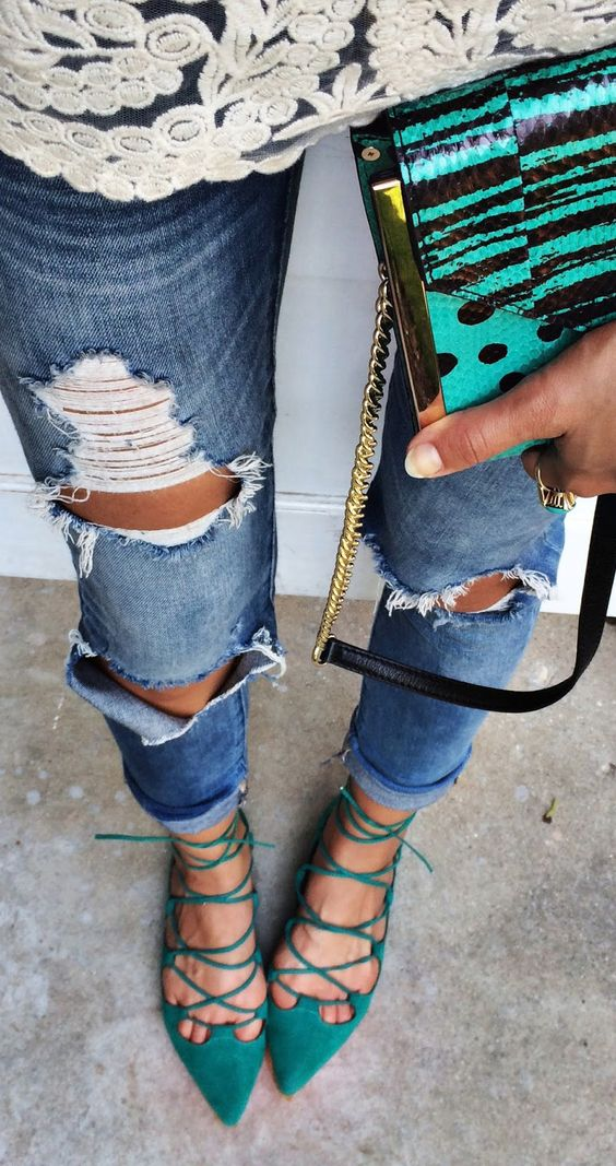 Blue Lace-up Flats