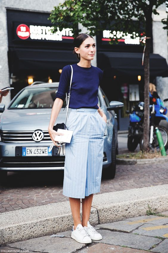 Blue Striped Skirt and White Sneakers
