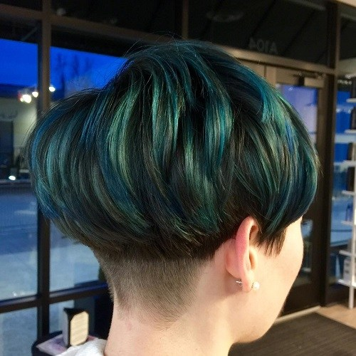 Blue and Emerald Bowl Hair