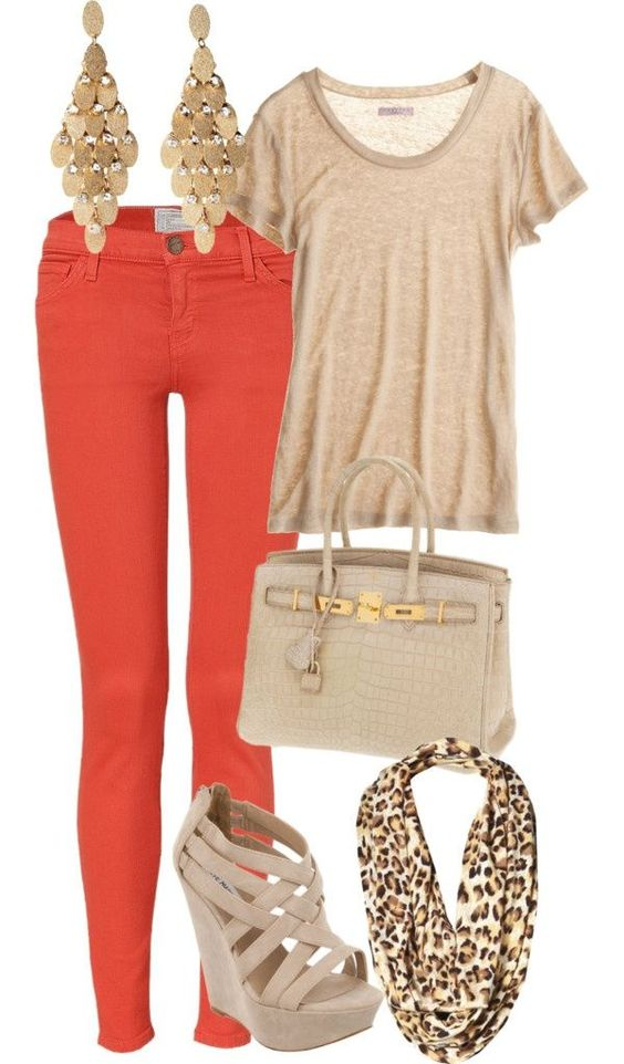 Bright Pants and Nude Wedges