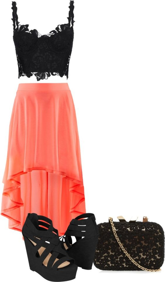 Bright Skirt and Black Wedges