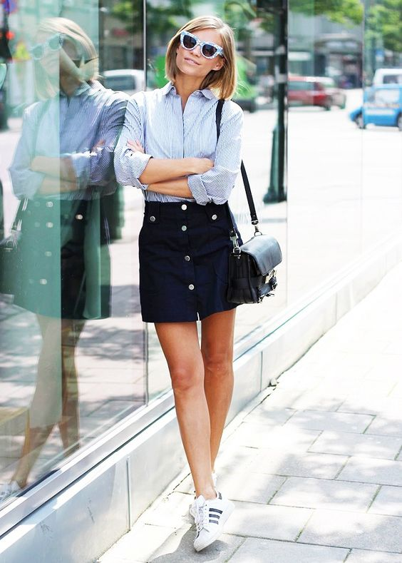 Button-up Skirt and Sneakers
