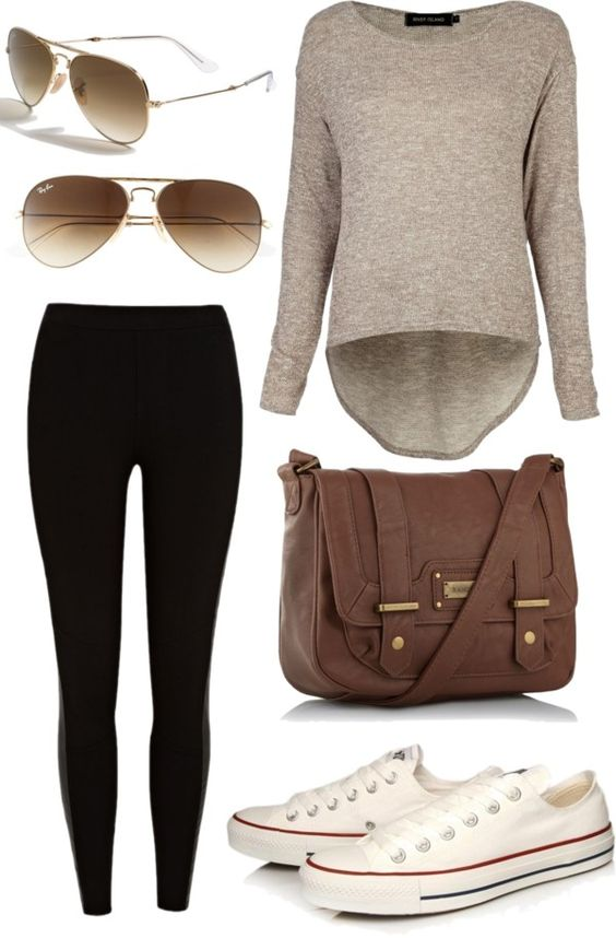 Camel Top and Black Leggings