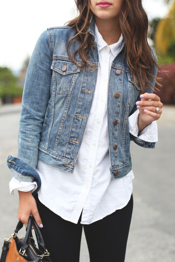 Classic Denim Jacket and Button-up Shirt