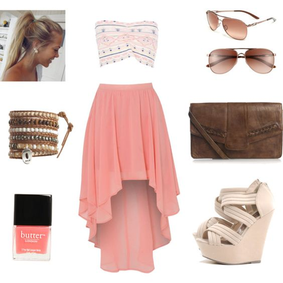 Crop Top, Blush Skirt and White Wedges