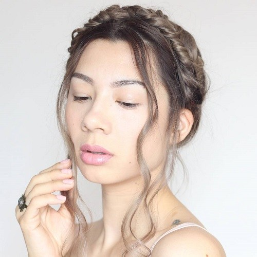 Crown Braid with Flowing Strands