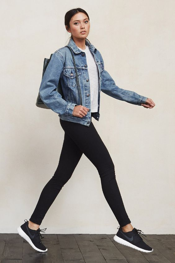 Denim Jacket, Black Leggings and Black Shoes