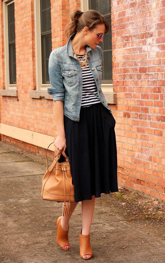 Denim Jacket and Black Skirt