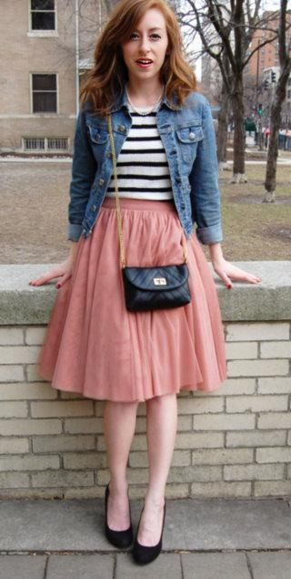 Denim Jacket and Pink Tulle Skirt