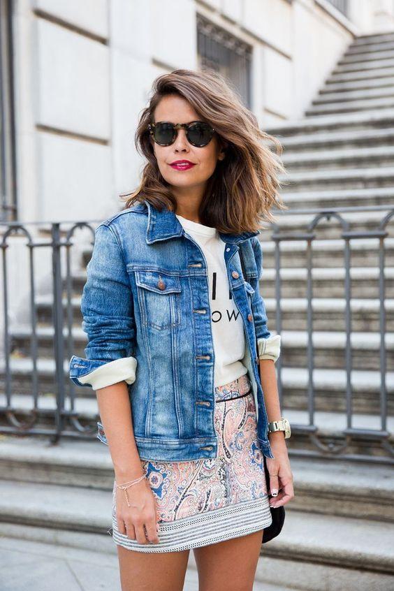 Denim Jacket and Printed Skirt