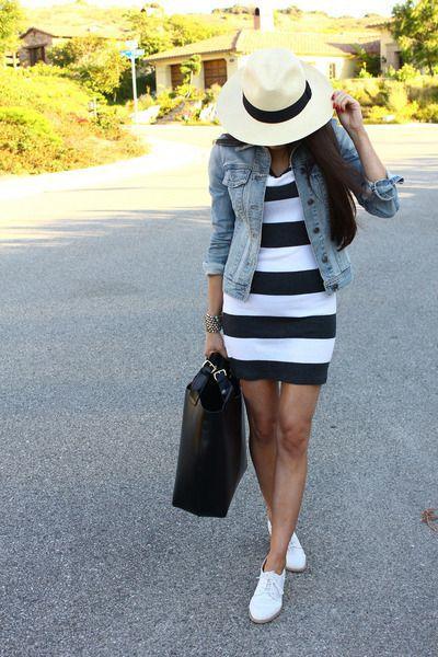 Denim Jacket and Striped Dress