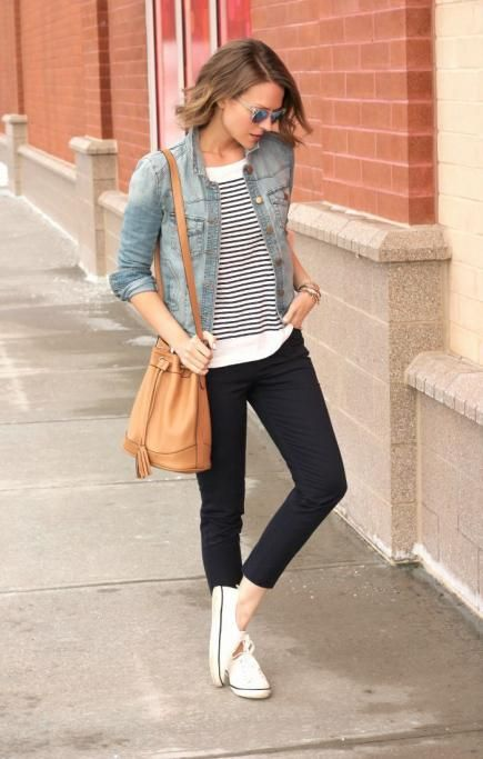 Denim Jacket and Striped Tee