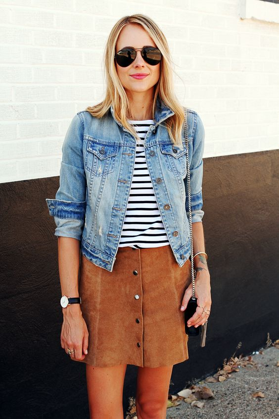 Denim Jacket and Suede A-line Skirt
