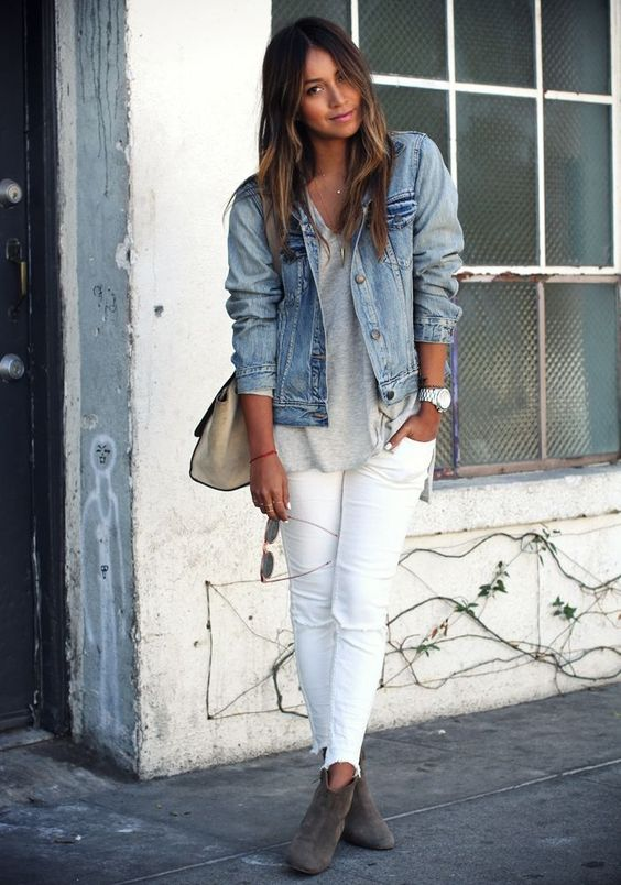 Denim Jacket and White Jeans