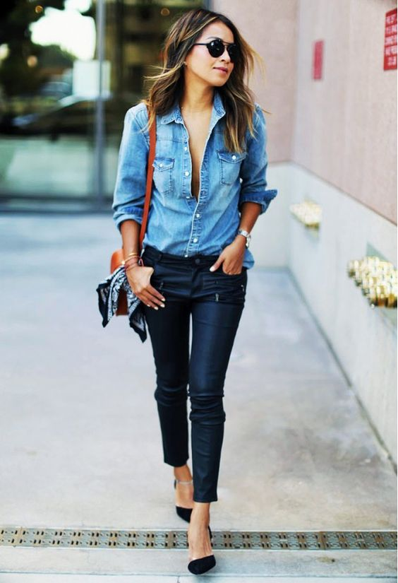 Denim Shirt, Black Pants and Flats