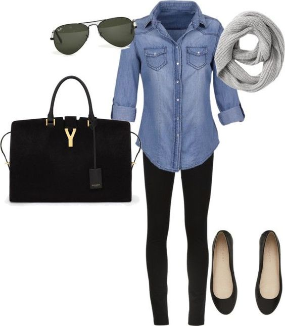 Denim Shirt, Black Skinny Jeans and Black Flats