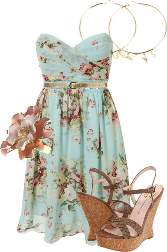 Floral Dress and Wedges