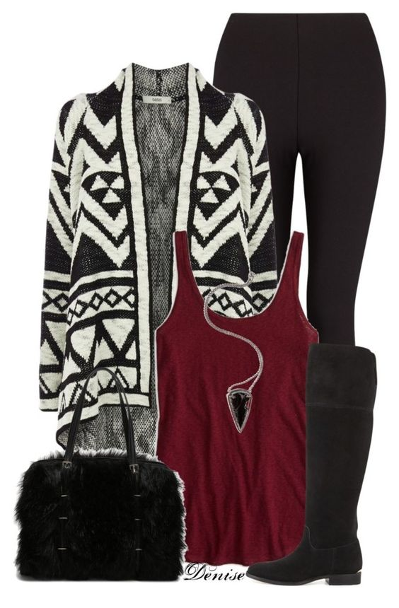 Geometric Cardigan and Black Leggings