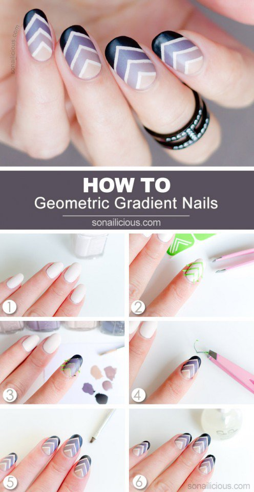 Geometric Gradient Nail Design Tutorial